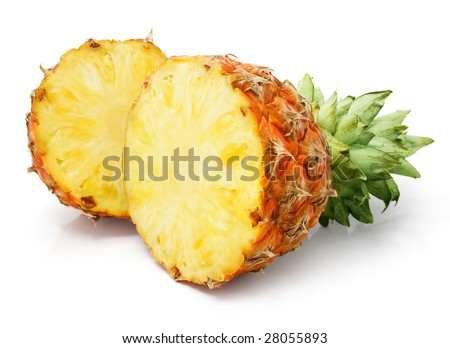 fresh pineapple fruits with cut and green leaves isolated on white background