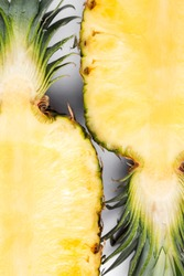 Fresh pineapple isolated on white background. Close-up of fresh pineapple. Pineapple in a section, top view. Flat lay.