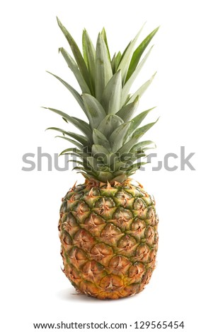 Fresh pineapple with leaves isolated on white background