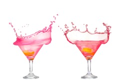 Fresh pink cocktail, lemon isolated on white background splash