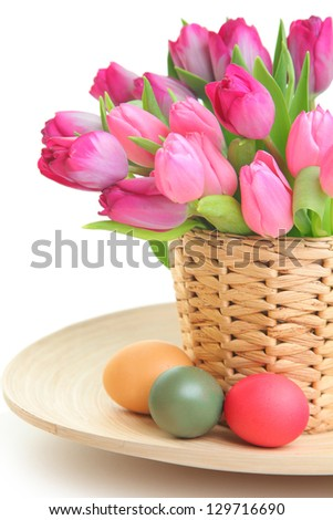 fresh pink tulips and easter eggs - stock photo