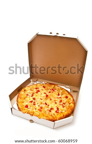 Fresh pizza in plain open box isolated on white background. Light shadow