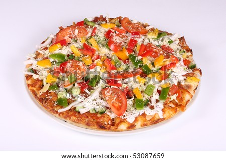 Fresh pizza on a plate on a white background