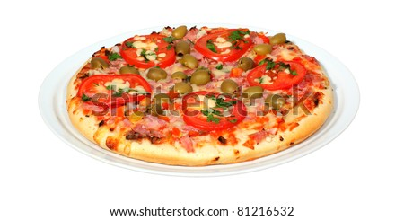 Fresh pizza on a white background with clipping path.