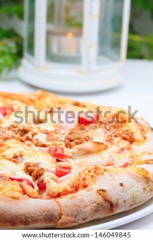 Fresh Pizza ready to be eaten at the restaurant
