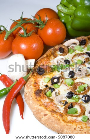 Fresh Pizza With Toppings Stock Photo 5087080 : Shutterstock
