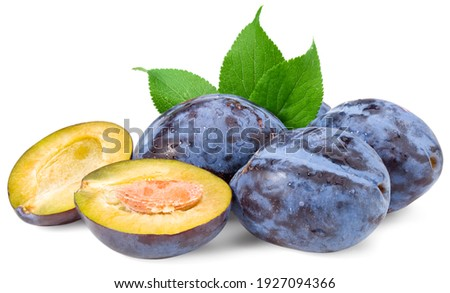 fresh plum fruit with green leaf and cut plum slices isolated on white background. Clipping path