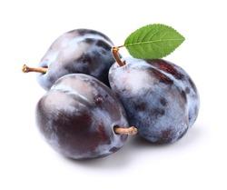Fresh plums with leaf