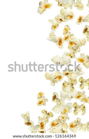 Fresh popcorn falling, close up