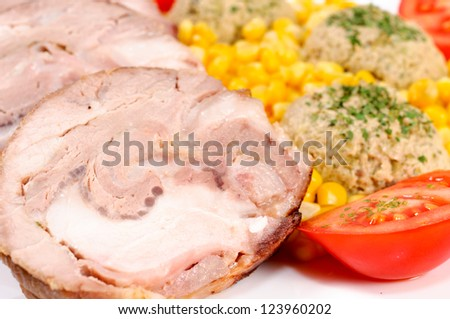 Fresh pork meat with vegetables