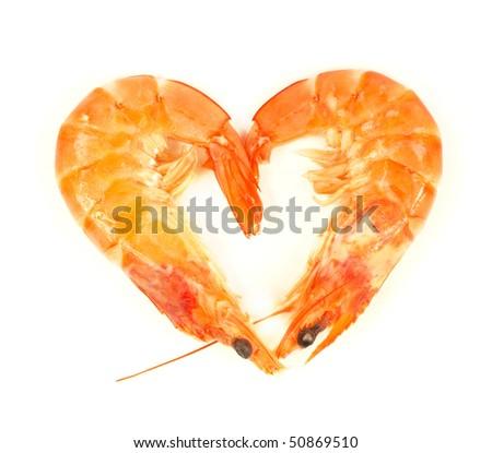 Fresh prawns in heart symbol isolated on white background