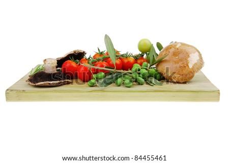 fresh prepared raw vegetables on cutting board