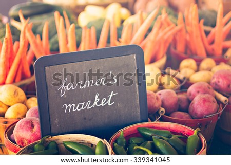 Fresh produce on sale at the local farmers market. ストックフォト ©