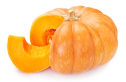 fresh pumpkin isolated on white background closeup