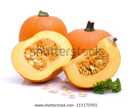 Fresh pumpkins on white ground