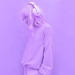 Fresh Purple Dj Girl. Minimal monochrome color aesthetic. Stylish headphones, music lover concept