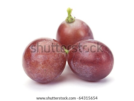 Fresh purple grape fruit on white background