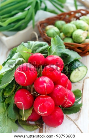 Fresh radish and other vegetables