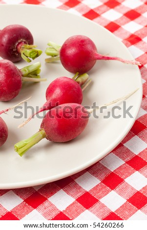 fresh radish on checkered tablecloth