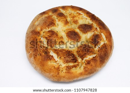 Fresh Ramazan Pidesi ( Ramadan Bread ) isolated #1107947828