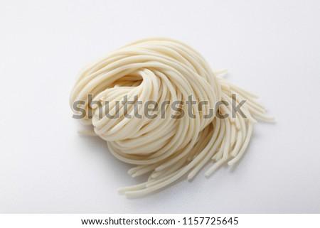 Fresh ramen noodles on white background. ストックフォト ©