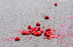 Fresh raspberries dropped on the road and partially squashed. The fresh fruit is deep vibrant pink red colour and the juice stains the grey tarmac surface. Shot from above ground level, shallow focus.