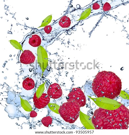 Fresh raspberries falling in water splash, isolated on white background