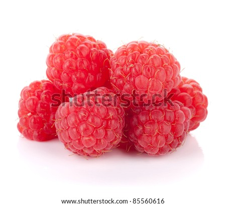 Fresh raspberries heap. Isolated on white background