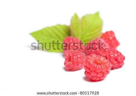 fresh raspberries isolated on a white background
