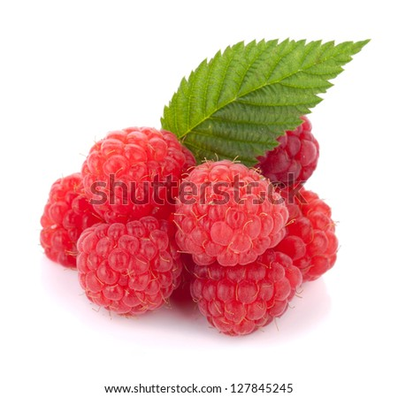 Fresh raspberries with green leaf. Isolated on white background #127845245