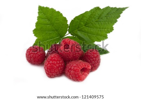 fresh raspberries with leaf isolated on white