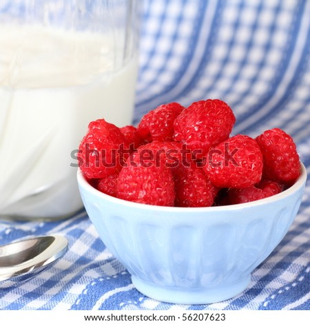 Fresh raspberries with milk and a spoon