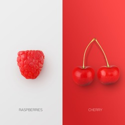 Fresh Raspberry And Cherries Berries Isolated On Two Bright Red And White Backgrounds. Cherry Berry And Raspberries Closeup, Square. Healthy Natural Organic Food Concept. Collage