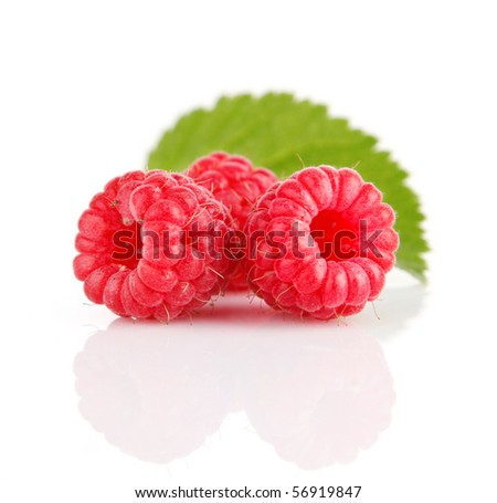 fresh raspberry fruits with green leaves isolated on white background - stock photo