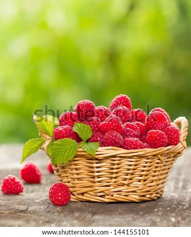 Fresh raspberry in the basket