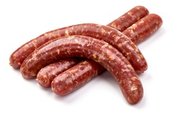 Fresh raw beef sausages, isolated on white background.
