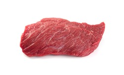 Fresh raw beef steak isolated on white background. Large piece of buffalo meat filet closeup