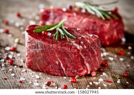 Fresh raw beef steak on wood
