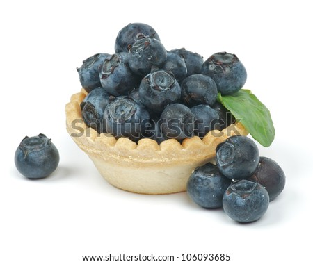 Fresh Raw Blueberries in basket isolated on white background