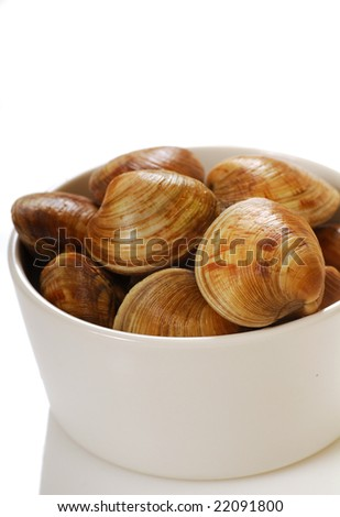 Fresh raw cherry stone clams in a white bowl