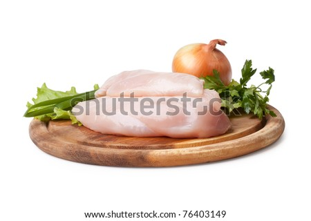 Fresh raw chicken fillets isolated on white background