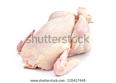 Fresh raw chicken isolated on white background