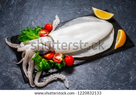 Fresh raw cuttlefish. Raw squid over black slate plate with ice, slices of lemon, tomato. Top view and copy space for your text.