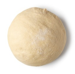 fresh raw dough ball isolated on white background, top view