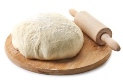 fresh raw dough for pizza or bread baking on wooden cutting board isolated on white background