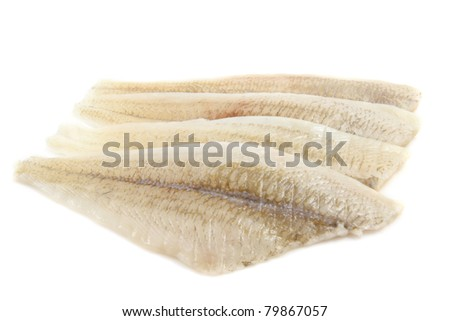 Fresh raw fish fillet isolated over white
