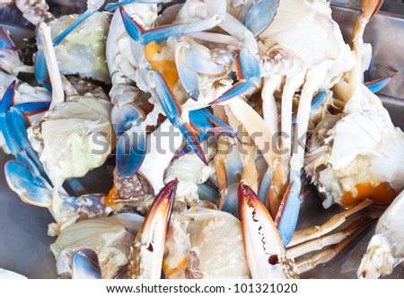 Fresh raw flower crab or blue crab for cooking