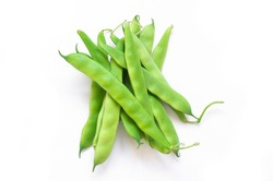 Fresh raw green beans pod plant isolated on white background. Heap of legume haricot bean ( Phaseolus vulgaris )