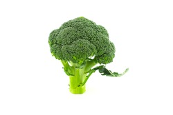 Fresh raw green broccoli florets isolated on white background