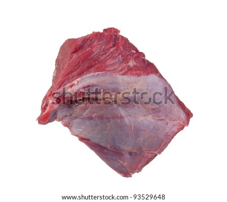 Fresh raw juicy meat on a white background